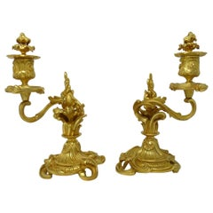 Antique Pair of Ormolu Gilt Bronze Rococo Candlesticks Juste Aurele Meissonier