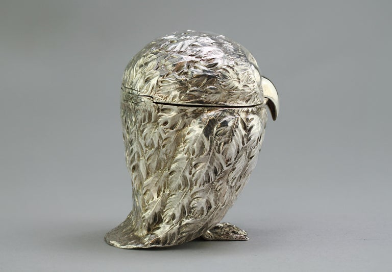 Mid-19th Century Antique Victorian Sterling Silver Ink Stand in the Shape of an Owl, London, 1848 For Sale