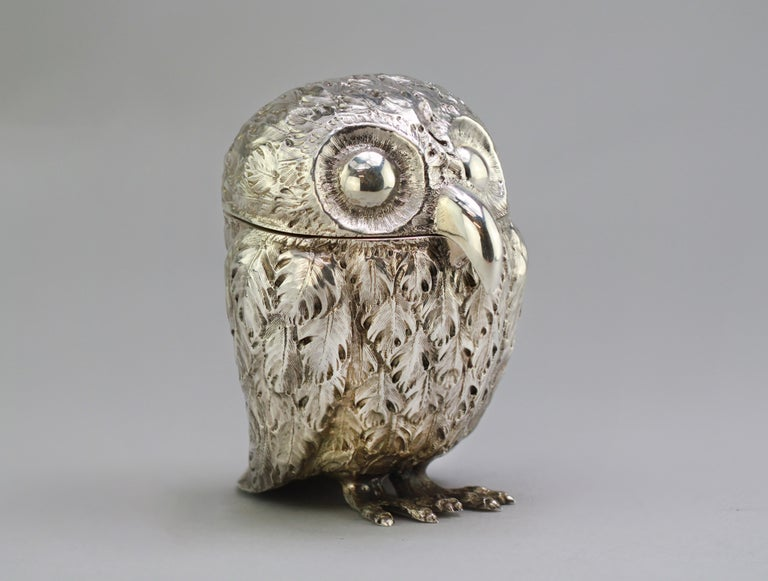 Antique Victorian Sterling Silver Ink Stand in the Shape of an Owl, London, 1848 For Sale 1