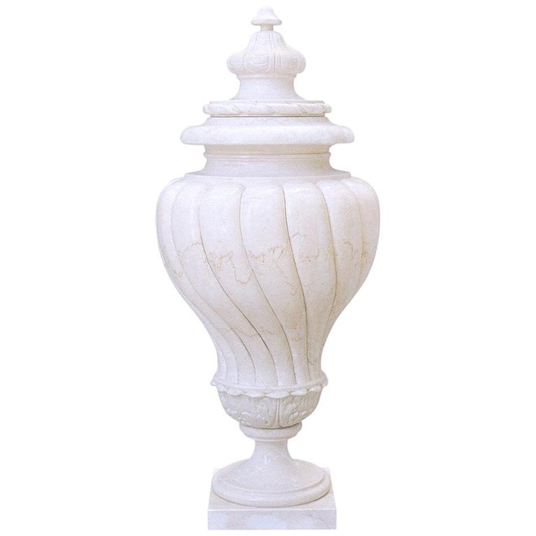 Antiqua Urn in Crema Marfil Marble by Kreoo For Sale