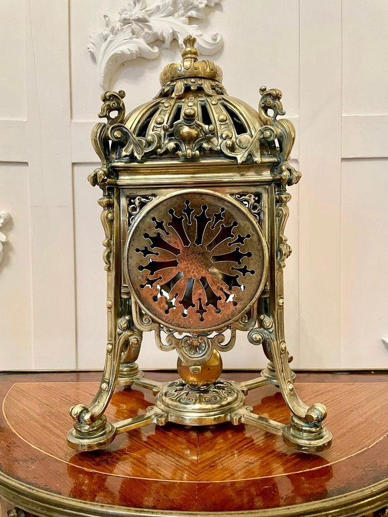 Antique French Brass Gilt Striking Mantel Clock by Henry Marcs & Japy Freres For Sale 5