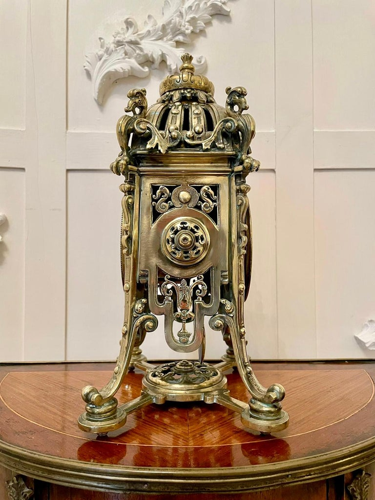 Antique French Brass Gilt Striking Mantel Clock by Henry Marcs & Japy Freres For Sale 6
