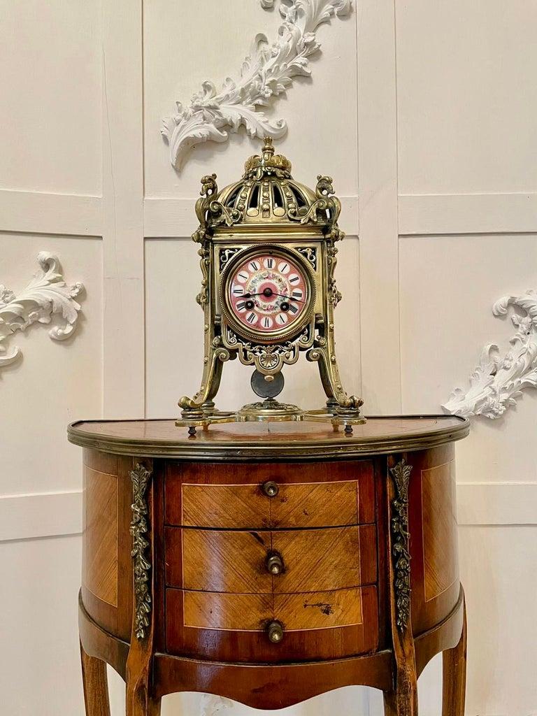 Victorian Antique French Brass Gilt Striking Mantel Clock by Henry Marcs & Japy Freres For Sale