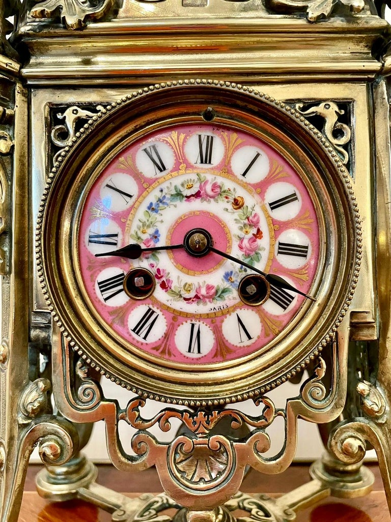 Antique French Brass Gilt Striking Mantel Clock by Henry Marcs & Japy Freres In Good Condition For Sale In Norwich, GB