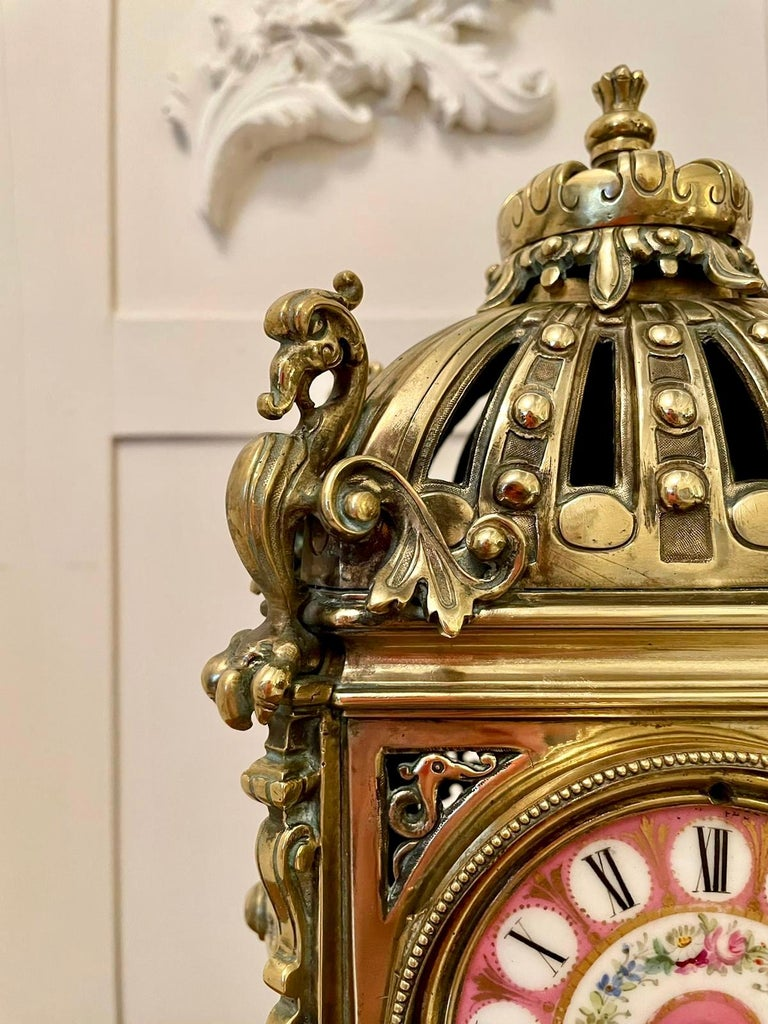 Antique French Brass Gilt Striking Mantel Clock by Henry Marcs & Japy Freres For Sale 1