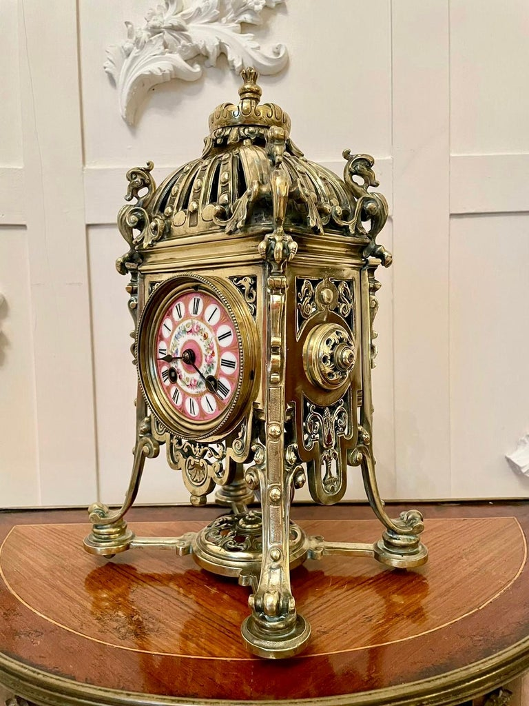 Antique French Brass Gilt Striking Mantel Clock by Henry Marcs & Japy Freres For Sale 4