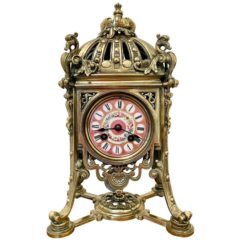 Antique French Brass Gilt Striking Mantel Clock by Henry Marcs & Japy Freres For Sale