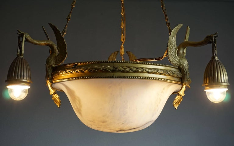 Antique & Striking Empire Style Gilt Bronze and Alabaster Pendant Light Fixture For Sale 3
