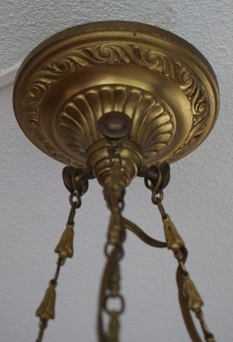Antique & Striking Empire Style Gilt Bronze and Alabaster Pendant Light Fixture For Sale 4