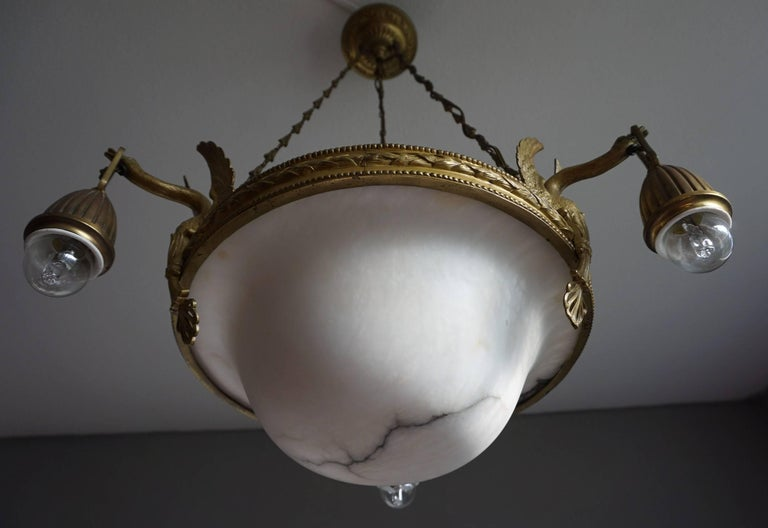 Antique & Striking Empire Style Gilt Bronze and Alabaster Pendant Light Fixture For Sale 6