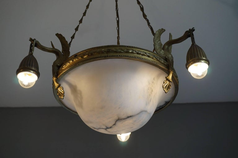 Antique & Striking Empire Style Gilt Bronze and Alabaster Pendant Light Fixture For Sale 9