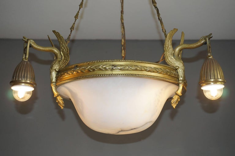 Antique & Striking Empire Style Gilt Bronze and Alabaster Pendant Light Fixture For Sale 11