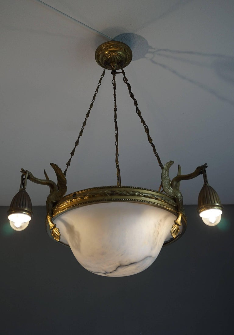 Antique & Striking Empire Style Gilt Bronze and Alabaster Pendant Light Fixture For Sale 12