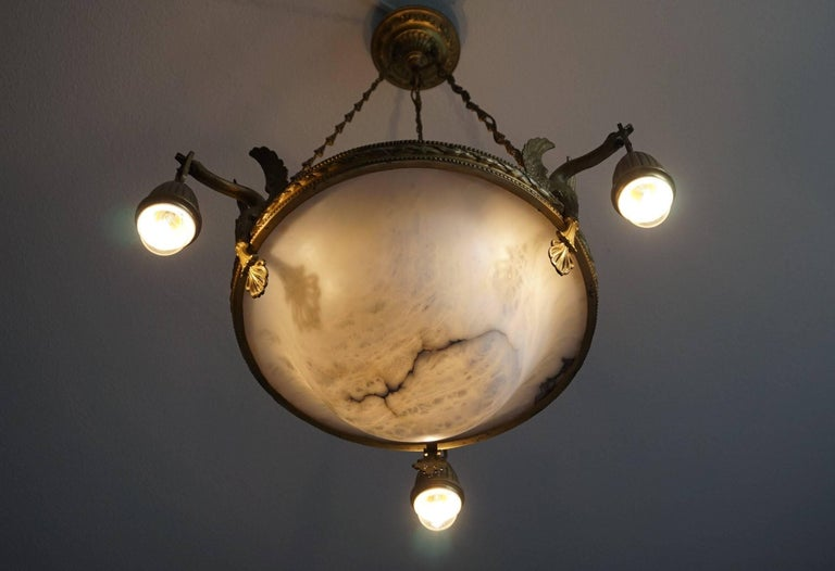 Polished Antique & Striking Empire Style Gilt Bronze and Alabaster Pendant Light Fixture For Sale