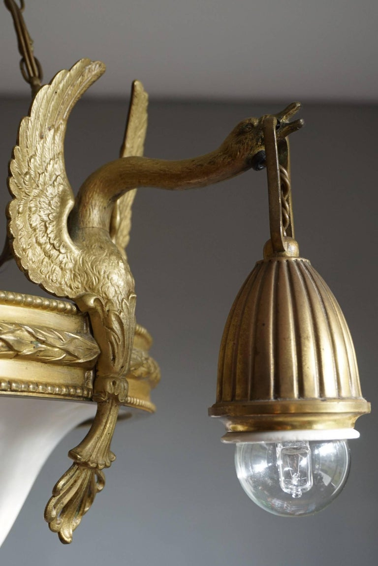 20th Century Antique & Striking Empire Style Gilt Bronze and Alabaster Pendant Light Fixture For Sale