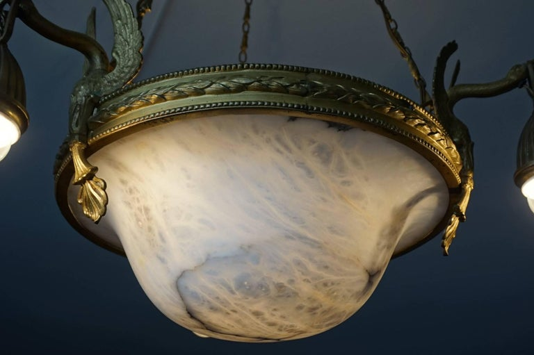 Antique & Striking Empire Style Gilt Bronze and Alabaster Pendant Light Fixture For Sale 2