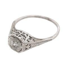 Antique 0.05 Carat Diamond Filigree Solitaire Ring