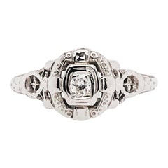 Antique 0.05 Carat Round Diamond Estate Engagement Ring in 18 Karat White Gold
