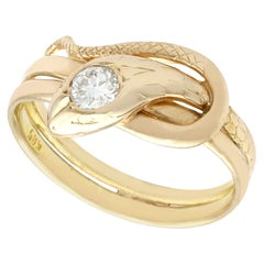 Antique 0.25 Carat Diamond and Yellow Gold Snake Ring