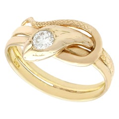 Antique Diamond and Yellow Gold Snake Ring