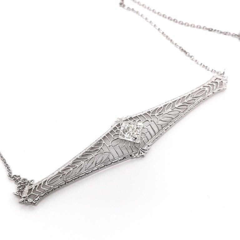 Antique 0.25 Carat Old Mine Cut Diamond Necklace For Sale 1