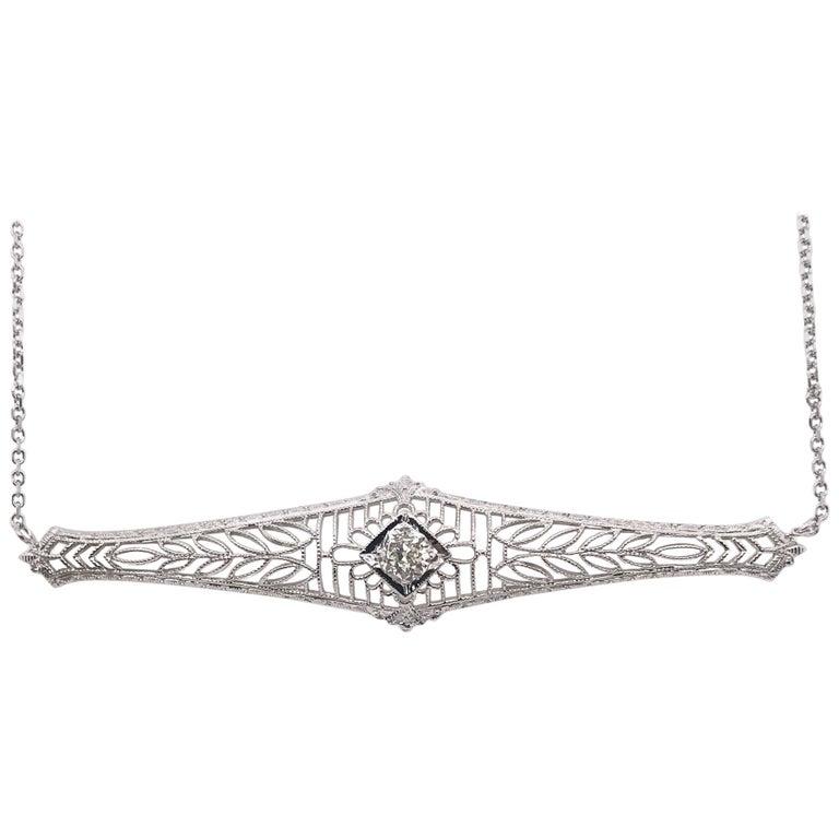 Antique 0.25 Carat Old Mine Cut Diamond Necklace For Sale