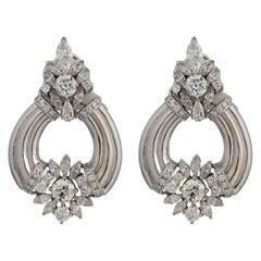 Antique 0.31 Carat with 2.50 Carat Total Carat Weight Diamond Drop Earring