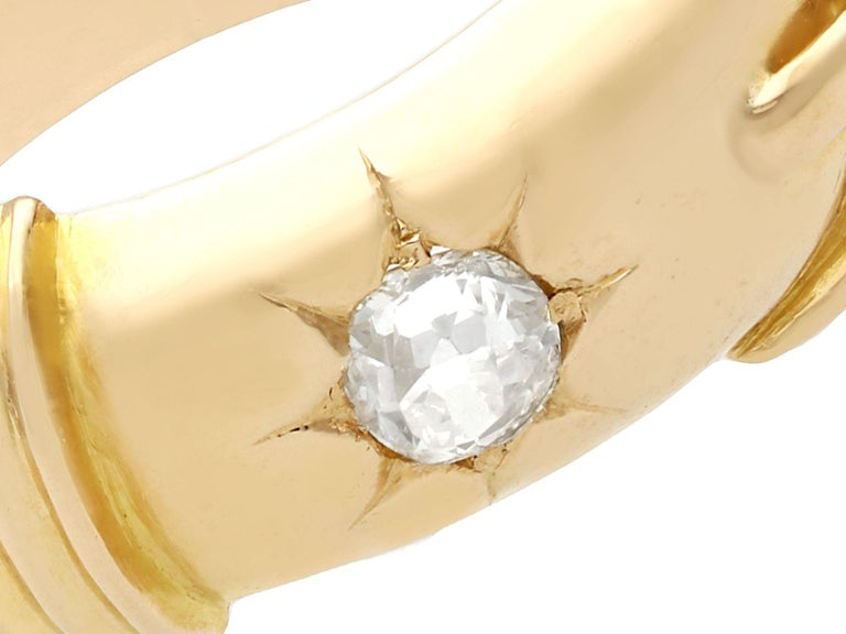 Round Cut Antique Diamond and Yellow Gold Buckle Ring Circa 1900 For Sale