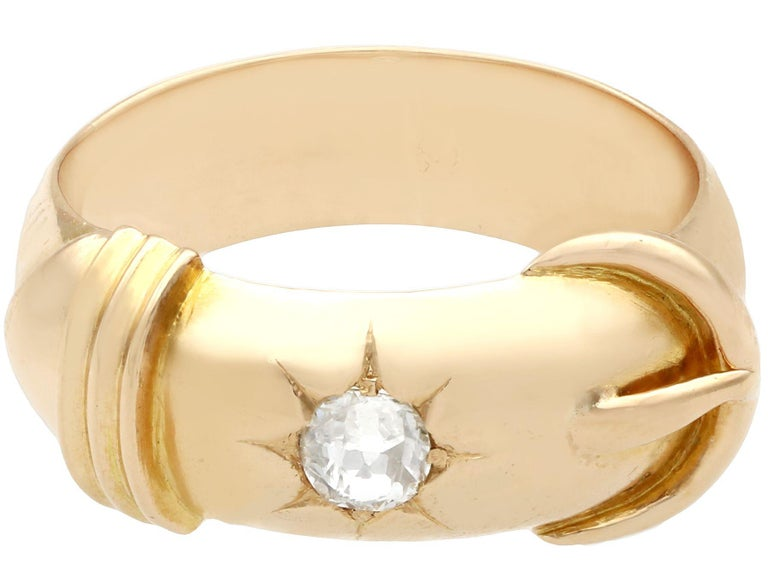 Antique Diamond and Yellow Gold Buckle Ring Circa 1900 In Excellent Condition For Sale In Jesmond, Newcastle Upon Tyne