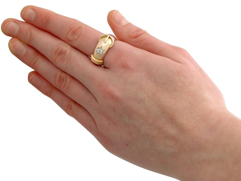 Antique Diamond and Yellow Gold Buckle Ring Circa 1900 For Sale 2