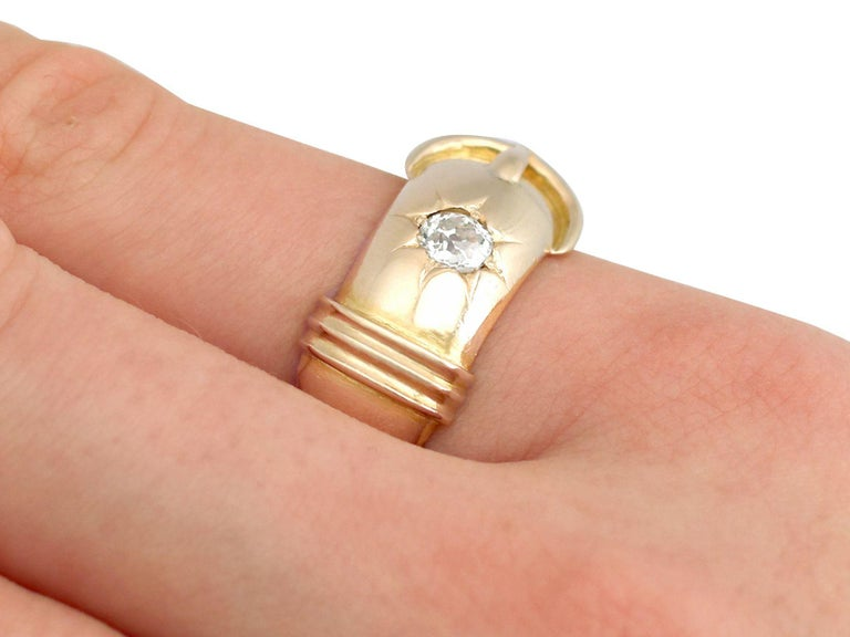 Antique Diamond and Yellow Gold Buckle Ring Circa 1900 For Sale 3