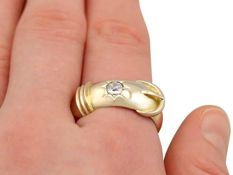Antique Diamond and Yellow Gold Buckle Ring Circa 1900 For Sale 4