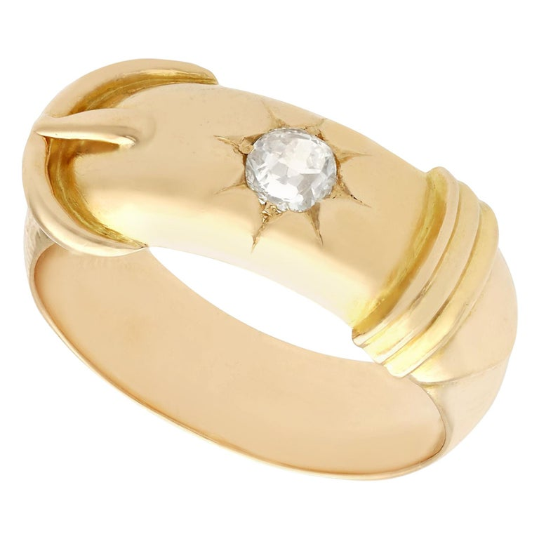 Antique Diamond and Yellow Gold Buckle Ring Circa 1900 For Sale