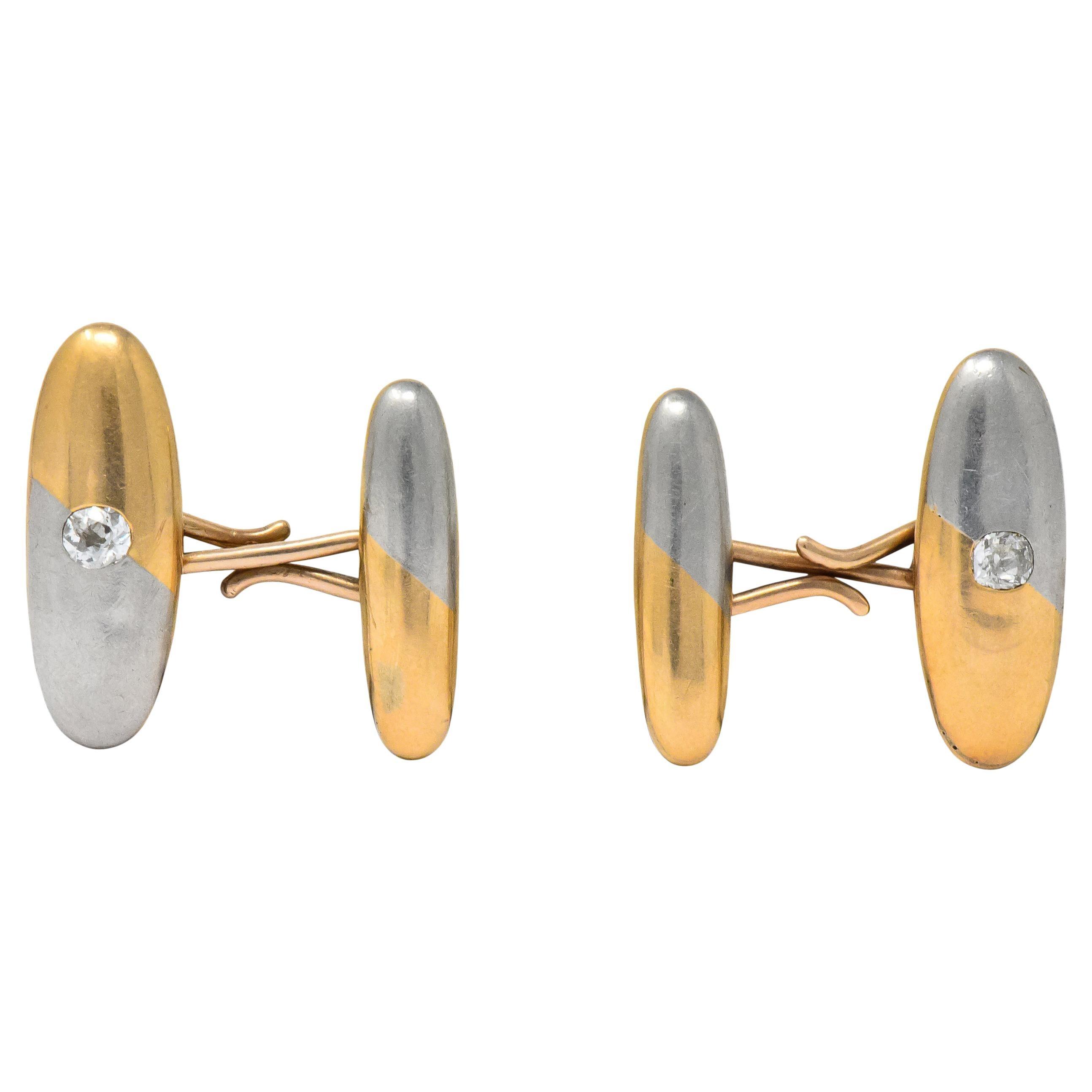 Antique 0.45 Carat Mine Diamond 14 Karat Gold Platinum Two-Tone Men's Cufflinks