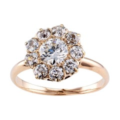 Antique 0.50 Carat Diamond Yellow Gold Cluster Engagement Ring
