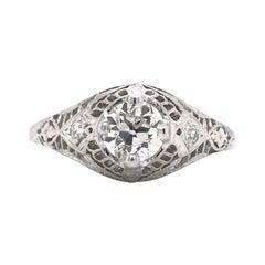 Antique 0.55 Carat Platinum Diamond Filigree Ring