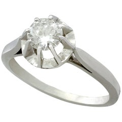Antique Diamond and White Gold Solitaire Ring