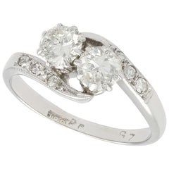 Antique 0.56 Carat Diamond and White Gold Toi et Moi Ring