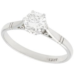 Antique 0.67 Carat Diamond and Platinum Solitaire Ring