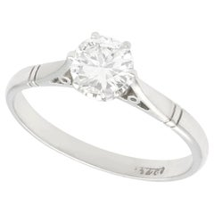 Antique 0.67 Carat Diamond and Platinum Solitaire Ring