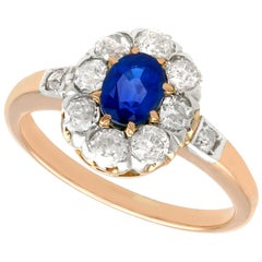 Antique 0.83 Carat Sapphire and Diamond Rose Gold Cluster Ring