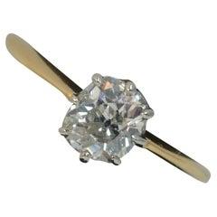 Antique 0.83 Carat Old Cut Diamond 18 Carat Gold Solitaire Ring