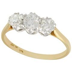 Antique 0.84 Carat Diamond and Yellow Gold Trilogy Ring, circa 1910