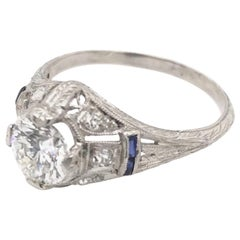 Antique 0.94 Carat Diamond and Sapphire Ring