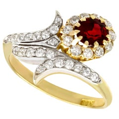 Antique 0.95 Carat Ruby and 0.83 Carat Diamond, 18 Karat Yellow Gold Twist Ring