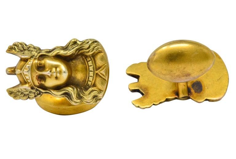 Art Nouveau Antique 10 Karat Gold Norse Valkyrie Goddess Men's Cufflinks For Sale