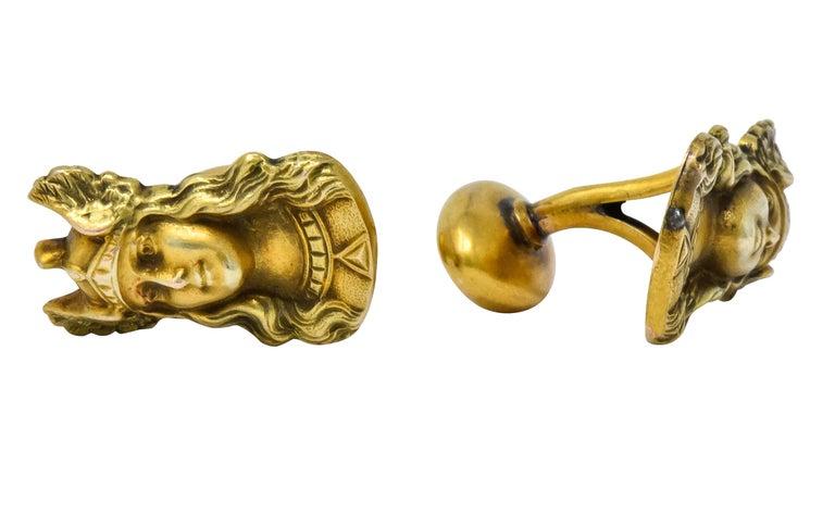 Antique 10 Karat Gold Norse Valkyrie Goddess Men's Cufflinks For Sale 2