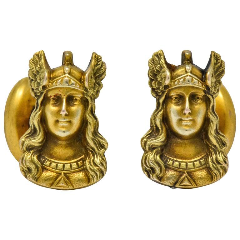 Antique 10 Karat Gold Norse Valkyrie Goddess Men's Cufflinks For Sale