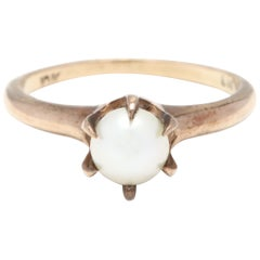 Antique 10 Karat Yellow Gold and Pearl Solitaire Ring