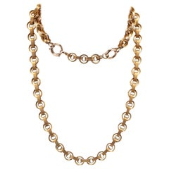 Antique 10 Karat Yellow Gold Oval and Round Link Chain with an Extender